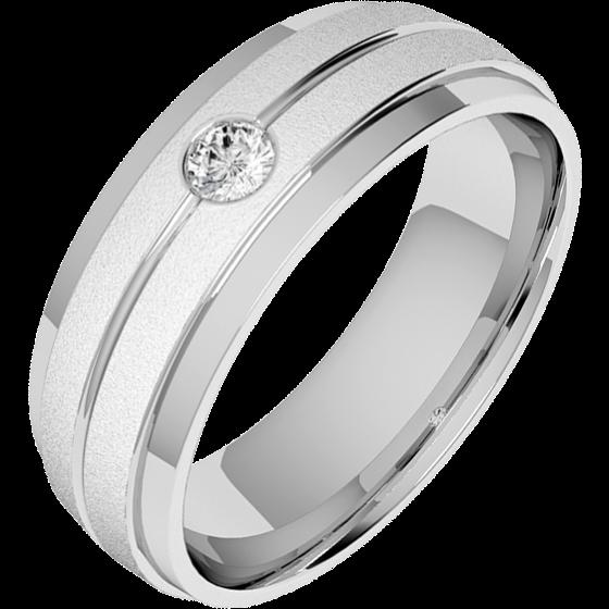 Ehering mit Diamanten für Mann in 18kt Weißgold mit einem runden Brillanten, sandgestrahlt und poliert, bombiertes Profil, Breite 6mm-img1
