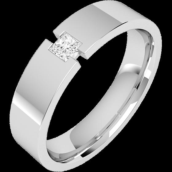 Ehering mit Diamanten für Mann in 18kt Weißgold mit einem Princess Schliff Diamanten, außen flach/innen bombiert, Breite 6mm-img1