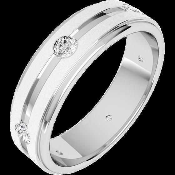 Ehering mit Diamanten für Mann in 18kt Weißgold mit 6 runden Diamanten in einem Kanal, außen flach/innen bombiert, 6mm breit-img1