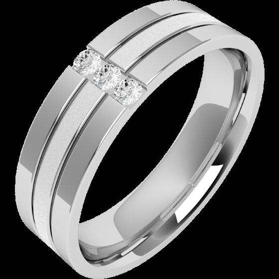 Ehering mit Diamanten für Mann in 18kt Weißgold mit 3 runden Brillanten, oben flach/innen bombiert, 6mm breit-img1