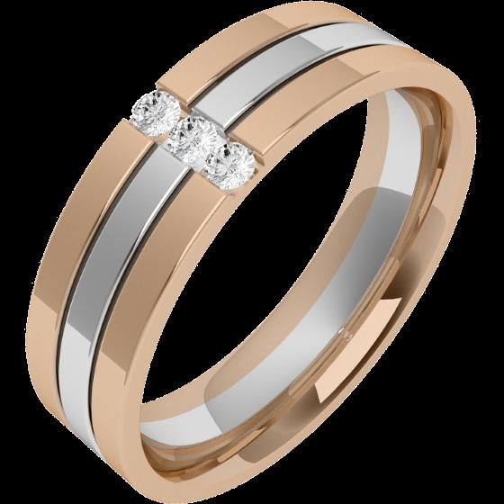 Verigheta cu Diamant Barbat Aur Alb si Aur Roz 18kt cu 3 Diamante Rotund Briliant Exterior Plat Interior Rotunjit Latime 6mm-img1