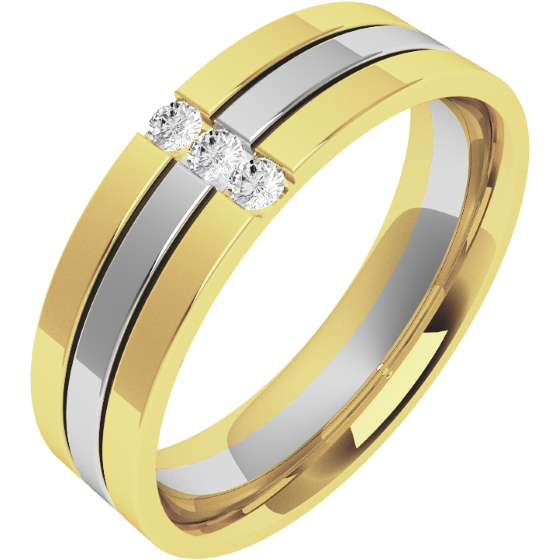 Verigheta cu Diamant Barbat Aur Alb si Aur Galben 18kt cu 3 Diamante Rotund Briliant Exterior Plat Interior Rotunjit Latime 6mm-img1