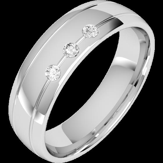 Ehering mit Diamanten für Mann in 18kt Weißgold mit 3 runden Diamanten, bombiertes Profil, 6mm breit-img1