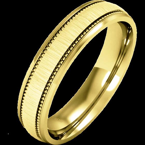 Einfacher Ehering für Mann in 9kt Gelbgold im Milgrain Stil, poliertes/gebürstetes Finish, Schwergewicht-img1