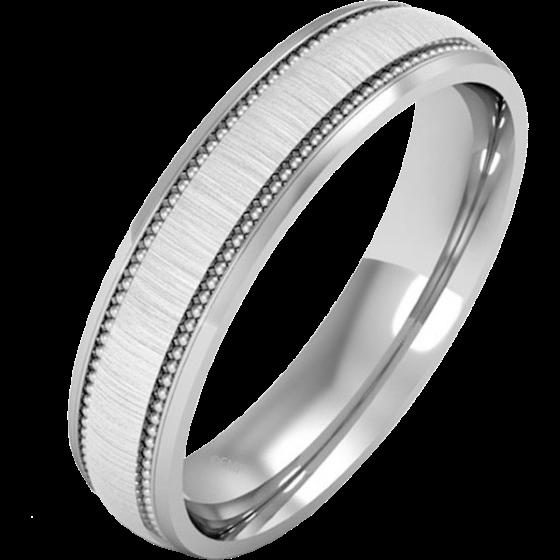 Einfacher Ehering für Mann in 18kt Weißgold im Milgrain Stil, poliertes/gebürstetes Finish, Schwergewicht-img1