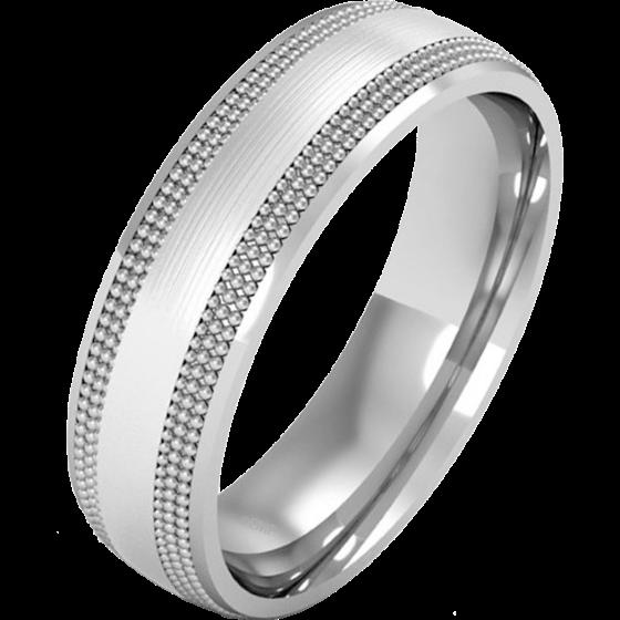 Einfacher Ehering für Mann in Palladium im Milgrain Stil, Schwergewicht, poliertes/gebürstetes Finish-img1