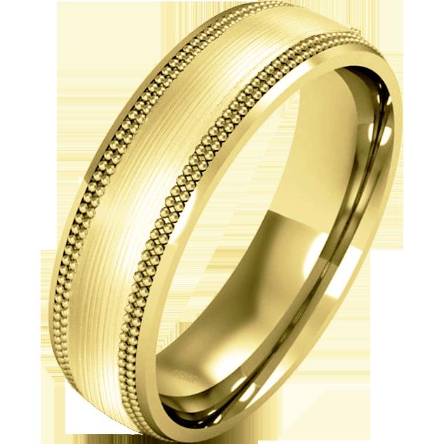 Einfacher Ehering für Mann in 18kt Gelbgold im Milgrain Stil, Schwergewicht, poliertes/gebürstetes Finish-img1