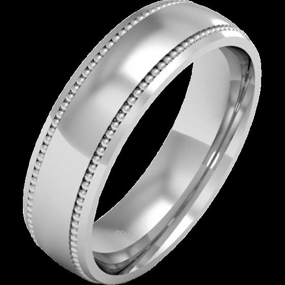 Einfacher Ehering für Mann in 9kt Weißgold, Milgrain Design, Schwergewicht-img1