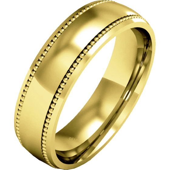 Plain Wedding Band For Men In 18ct Yellow Gold Mill Grained Heavy Weight