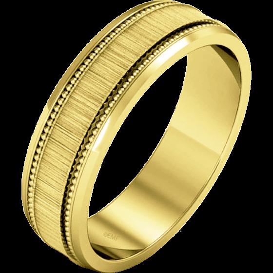 Einfacher Ehering für Mann in 9kt Gelbgold im Milgrain Stil mit poliertem/gebürsteten Finish-img1