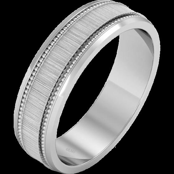 Einfacher Ehering für Mann in Palladium im Milgrain Stil mit poliertem/gebürsteten Finish-img1