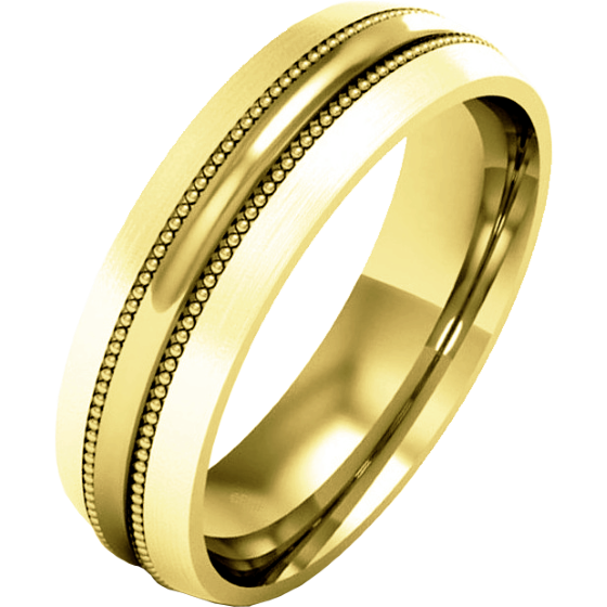 Plain Wedding Band for Men in 9ct Yellow Gold, Heavy Weight, Mill-Grained with a Polished/Brushed Finish-img1
