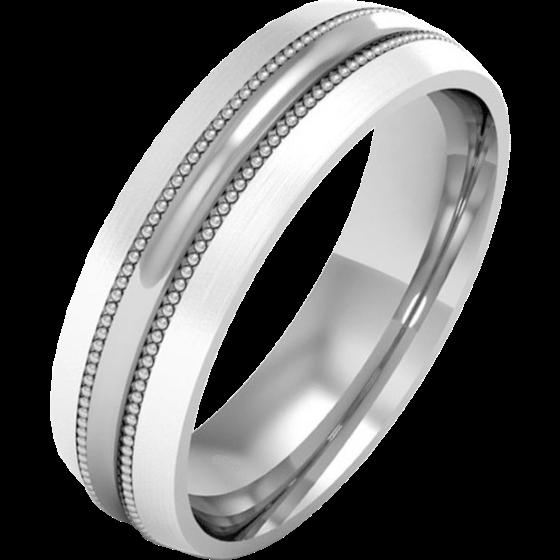 Einfacher Ehering für Mann in 18kt Weißgold im Milgrain Stil in einem polierten/gebürsteten Finish-img1