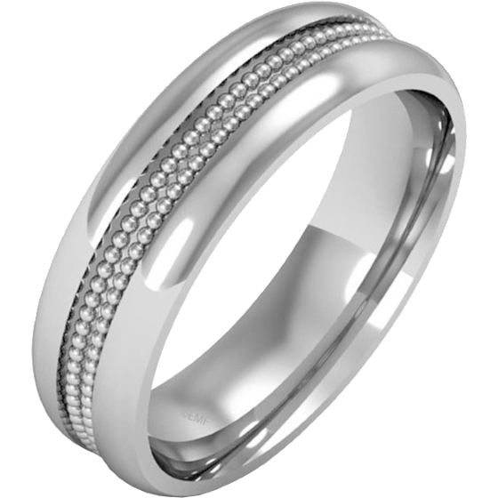 Einfacher Ehering für Mann in Palladium im Milgrain Stil, Schwergewicht, in einem polierten/gebürsteten Finish-img1