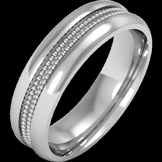 Einfacher Ehering für Mann in 18kt Weißgold im Milgrain Stil, Schwergewicht, in einem polierten/gebürsteten Finish-img1