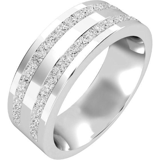 Diamond Set Wedding Ring for Men in 18ct White Gold with Princess