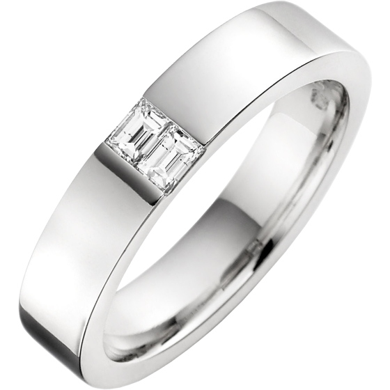 Verigheta cu Diamant Barbat Platina cu 2 Diamante Forma Bagheta in Setare Canal Latime 4.5mm-img1