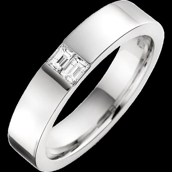 Ehering mit Diamanten für Mann in Palladium mit 2 Baguette Schliff Diamanten in Kanalfassung, Breite 4.5mm-img1