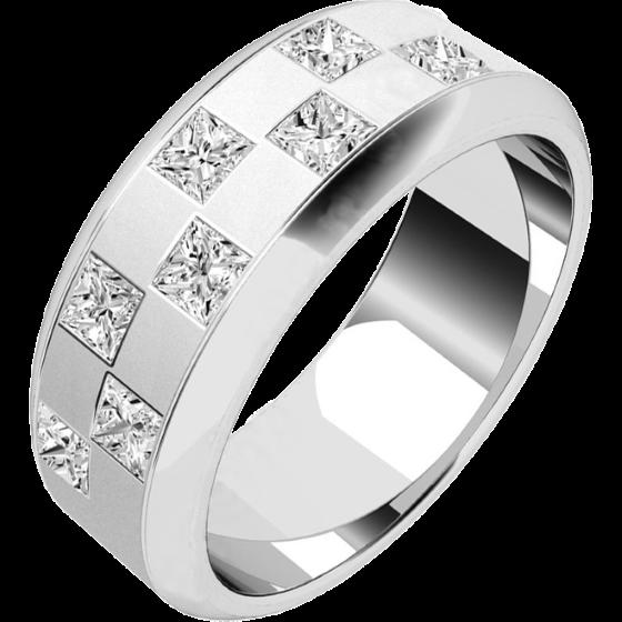 Verigheta cu Diamant Barbat Platina cu 8 Diamante Princess Aranjate in Stil Tabla de Sah Latime 7.25mm-img1