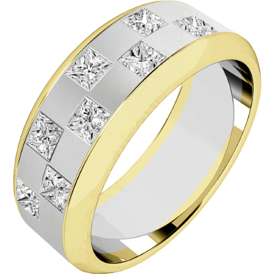Verigheta cu Diamant Barbat Aur Alb si Aur Galben 18kt cu 8 Diamante Princess Aranjate in Stil Tabla de Sah Latime 7.25mm-img1