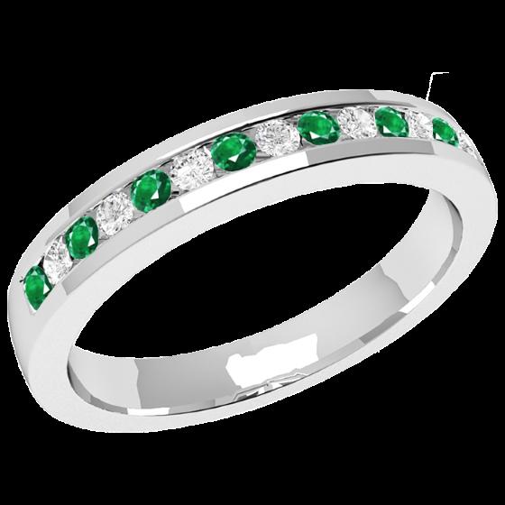 Smaragd und Diamant Ring für Dame in 9kt Weißgold mit 8 runden Smaragden und 7 runden Brillanten in Kanalfassung, 2.9mm breit-img1