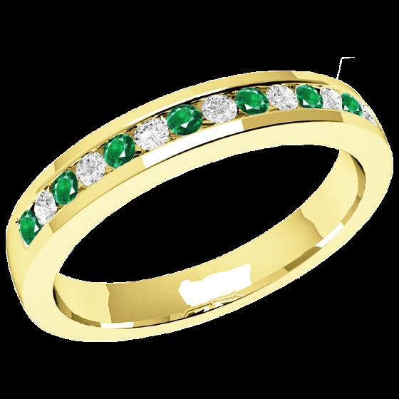 Smaragd und Diamant Ring für Dame in 18kt Gelbgold mit 8 runden Smaragden und 7 runden Brillanten in Kanalfassung, 2.9mm breit-img1