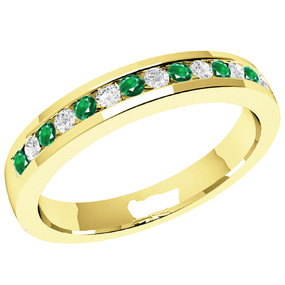 Inel cu Smarald si Diamant Dama Aur Galben 18kt cu 8 Smaralde Rotunde si 7 Diamante Rotund Briliant in Setare Canal, Stil Eternity, Latime 2.9mm-img1