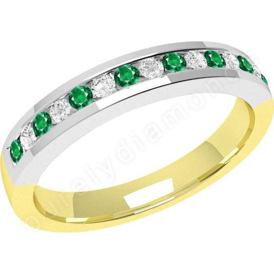 Smaragd und Diamant Ring für Dame in 18kt Gelb- und Weißgold mit 8 runden Smaragden und 7 runden Brillanten in Kanalfassung, 2.9mm breit-img1