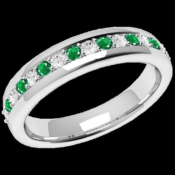 Smaragd und Diamant Ring für Dame in 9kt Weißgold mit 9 runden Smaragden und 8 runden Brillanten in Krappenfassung, Breite 3.65mm-img1