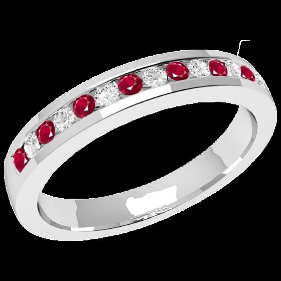 Inel cu Rubin si Diamant Dama Aur Alb 18kt cu 8 Rubine Rotunde si 7 Diamante Rotund Briliant in Setare Canal, Stil Eternity, Latime 2.9mm-img1