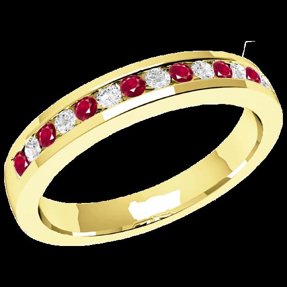 Inel cu Rubin si Diamant Dama Aur Galben 18kt cu 8 Rubine Rotunde si 7 Diamante Rotund Briliant in Setare Canal, Stil Eternity, Latime 2.9mm-img1
