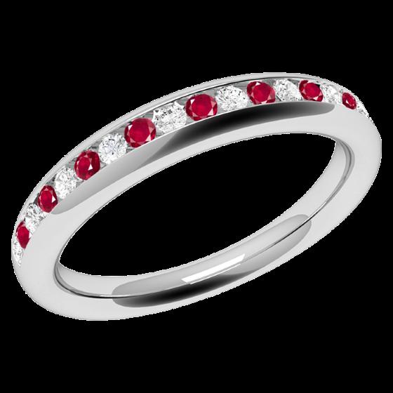 Inel cu Rubin si Diamant Dama Aur Alb 18kt cu Rubine Rotunde si Diamante Rotund Briliant in Setare Canal, Stil Eternity-img1