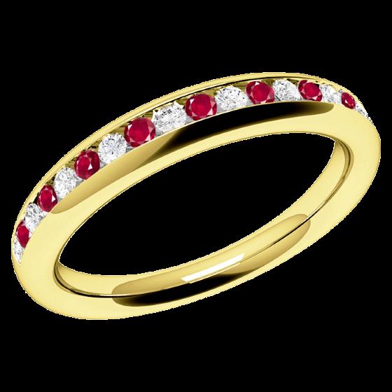 Inel cu Rubin si Diamant Dama Aur Galben 18kt cu Rubine Rotunde si Diamante Rotund Briliant in Setare Canal, Stil Eternity-img1