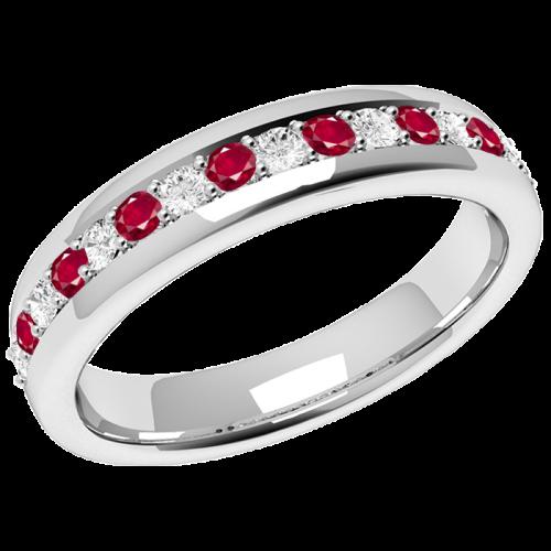 Inel cu Rubin si Diamant Dama Aur Alb 18kt cu 9Safire Rotunde si 8Diamante Rotund Briliant in Setare Gheare-img1