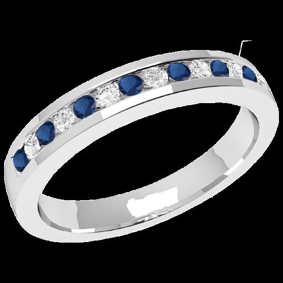 Saphir und Diamant Ring für Dame in 9kt Weißgold mit 8 runden Saphiren und 7 runden Brillanten in Kanalfassung, Breite 2.9mm-img1