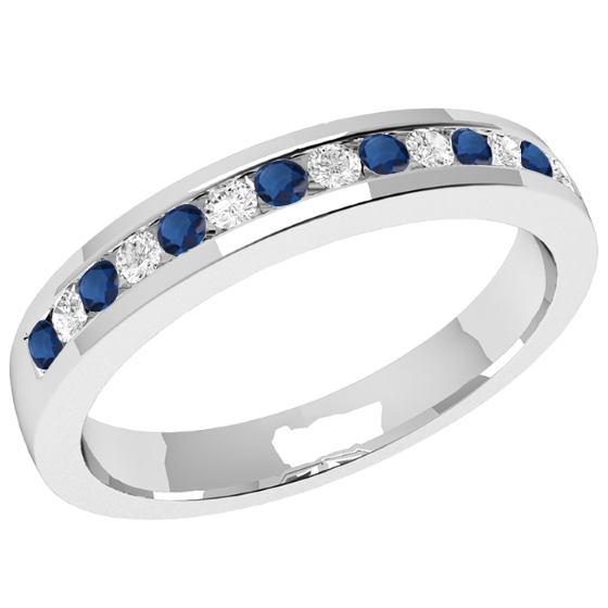 25b4ee2386980 Sapphire and Diamond Eternity Ring for Women in palladium with 8 ...