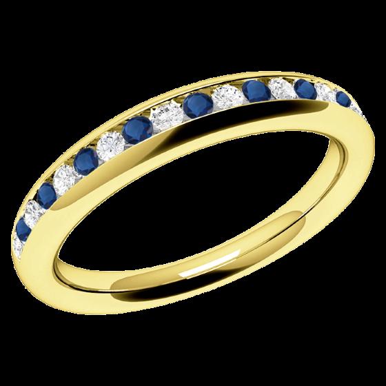 Saphir und Diamant Ring für Dame in 18kt Gelbgold mit Saphiren und Brillant Schliff Diamanten in Kanalfassung-img1