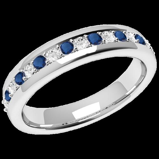Saphir und Diamant Ring für Dame in 18kt Weißgold mit 9 runden Saphiren und 8 runden Brillant Schliff Diamanten in Krappenfassung, Breite 3.75mm-img1
