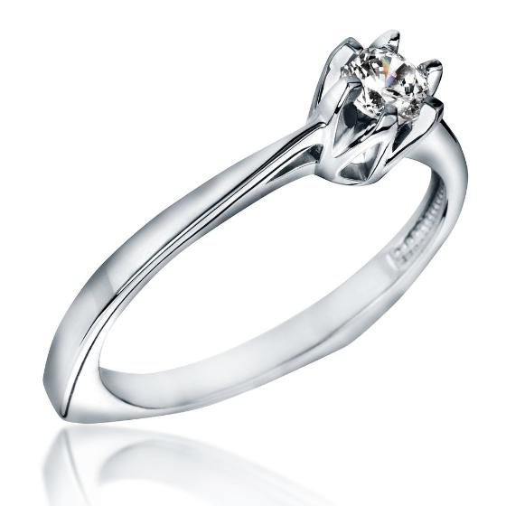 Inel de Logodna Solitaire Dama Aur Alb 18kt cu un Diamant Rotund in 6 Gheare-img1
