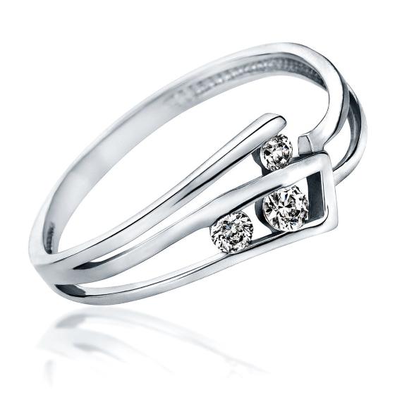 Inel de Logodna cu 3 Diamante Dama Aur Alb 14kt cu Briliante Rotunde, Model cu Decupaj-img1