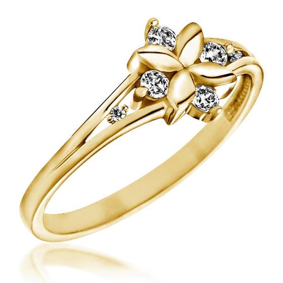 Inel cu Mai Multe Diamante Dama Aur Galben 14kt in Forma de Floare cu 6 Briliante-img1