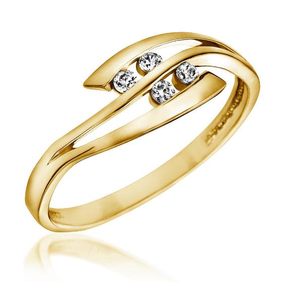 Inel de Logodna cu Mai Multe Diamante Dama Aur Galben 14kt cu 4 Briliante Rotunde-img1