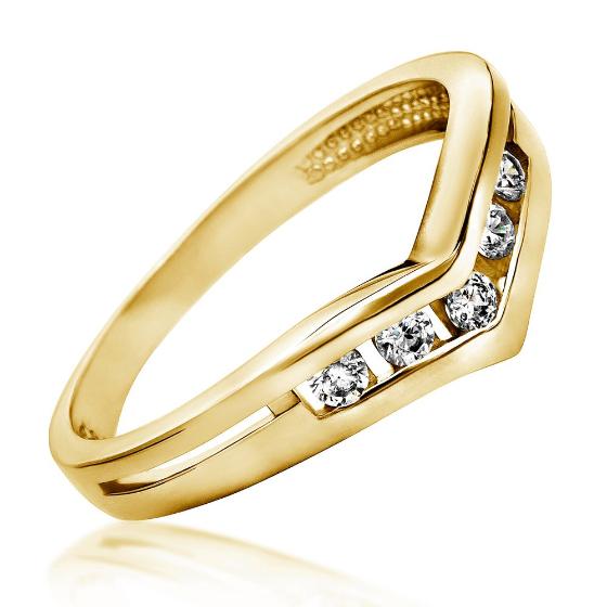 Inel de Logodna cu Mai Multe Diamante Dama Aur Galben 14kt cu 5 Diamante Rotunde Briliant-img1