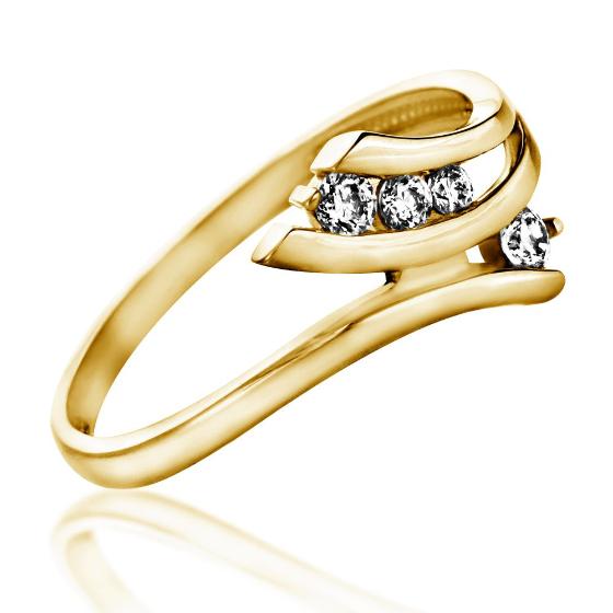 Inel de Logodna cu Mai Multe Diamante Dama Aur Galben 14kt cu 4 Diamante Rotunde Briliant-img1