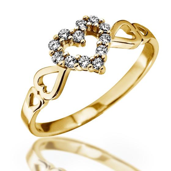 Inel cu Mai Multe Diamante Dama Aur Galben 14kt cu 12 Briliante Setate in Forma de Inima si Inimioare pe Banda-img1