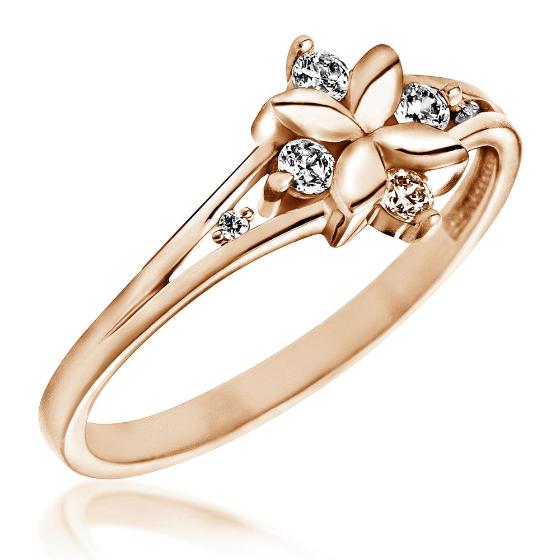 Inel cu Mai Multe Diamante Dama Aur Roz 14kt in Forma de Floare cu 6 Briliante-img1