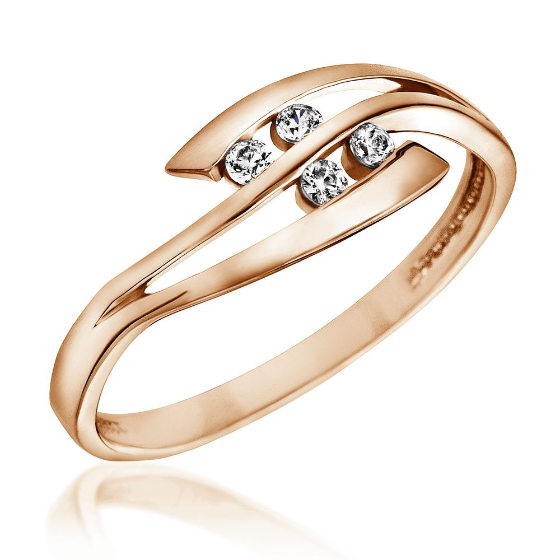 Inel de Logodna cu Mai Multe Diamante Dama Aur Roz 14kt cu 4 Briliante Rotunde in Stoc-img1