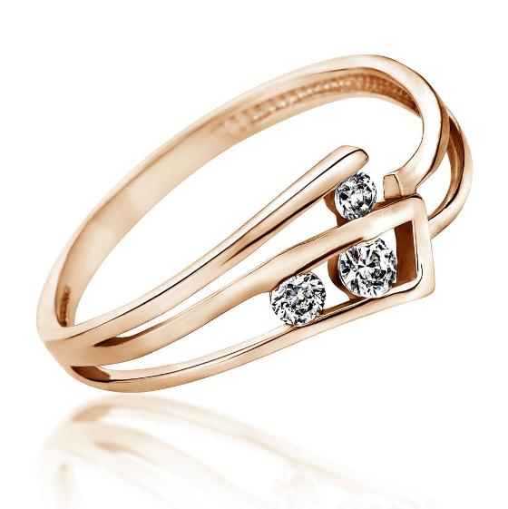 Inel de Logodna cu 3 Diamante Dama Aur Roz 14kt cu Briliante Rotunde, Model cu Decupaj-img1