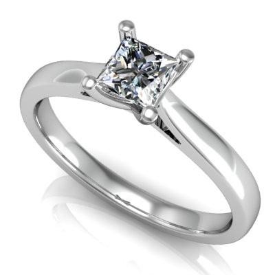 Inel de Logodna Solitaire Dama Aur Alb 14kt cu un Diamant Taietura Patrata Setat cu 4 Gheare-img1