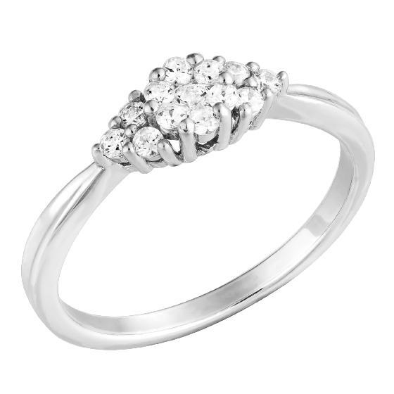 Inel Cocktail cu Diamante/Inel de Logodna Dama Aur Alb 14kt cu Diamante Rotund Briliant-img1
